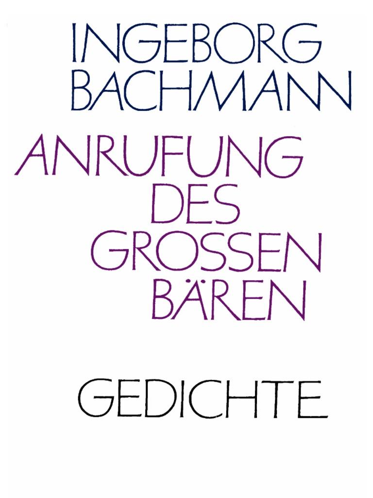 Ingeborg Bachmann Anrufung Des Großen Bären