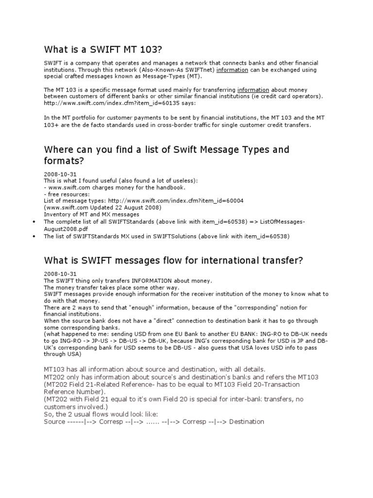 SWIFT MT 103 | Banks | Banking