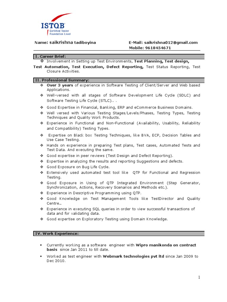 sample resume for 3 years experience in manual testing - manual testing experienced resume 1 software testing