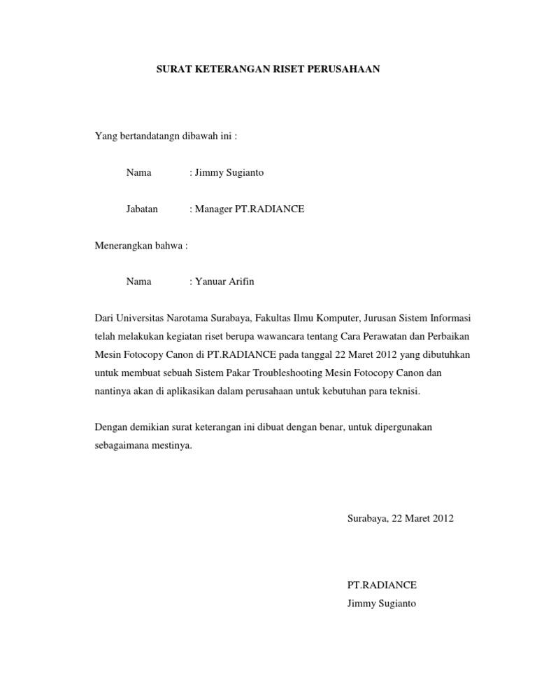 Contoh Surat Keterangan Observasi Kumpulan Ilmu Dan
