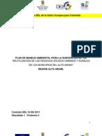 Plan de Manejo Ambiental para la Reutilización de residuos sólidos urbanos y rurales, en los Municipios del Alto de Ariari