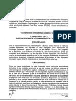 Acuerdo de Directorio No 05-2012, el cual amplía la Tabla de Valores Imponibles para el cálculo el IVA en la importación de vehículos terrestres