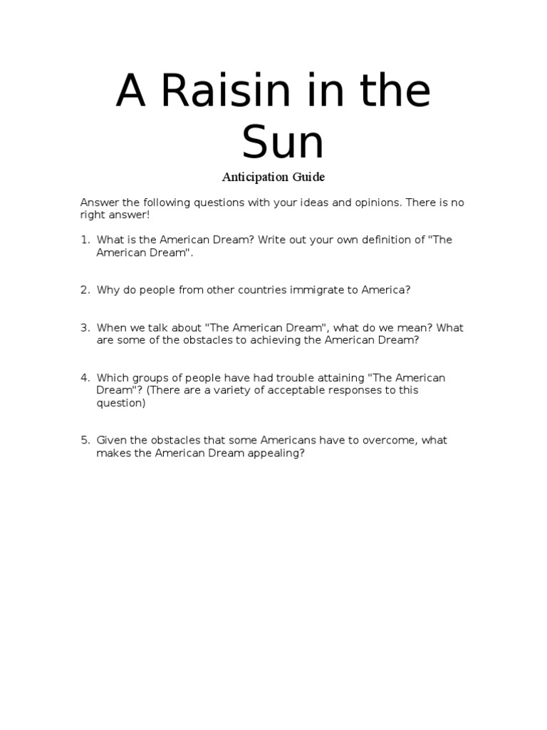 a raisin in the sun anticipation guide