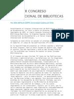 El Problema del Canje Bibliotecario, Tercer Congreso Internacional de Bibliotecas, 1955