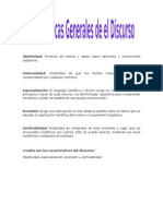 Caracteristicas Generales Del Discurso