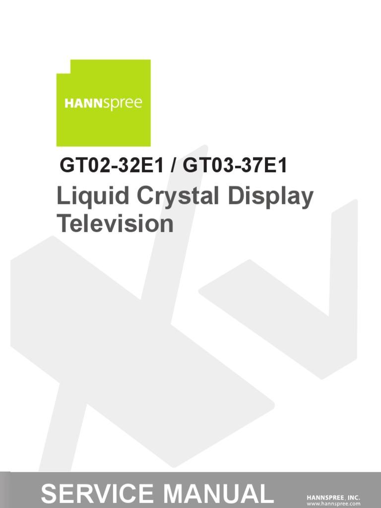 Hannspree Service Manual Xv Gt02-32e1vs Gt03-37e1-0710 | Hdmi | Ac Power  Plugs And Sockets