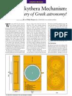Still a Mystery of Greek Astronomy