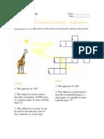 Beginning Crossword Puzzle, Adjectives