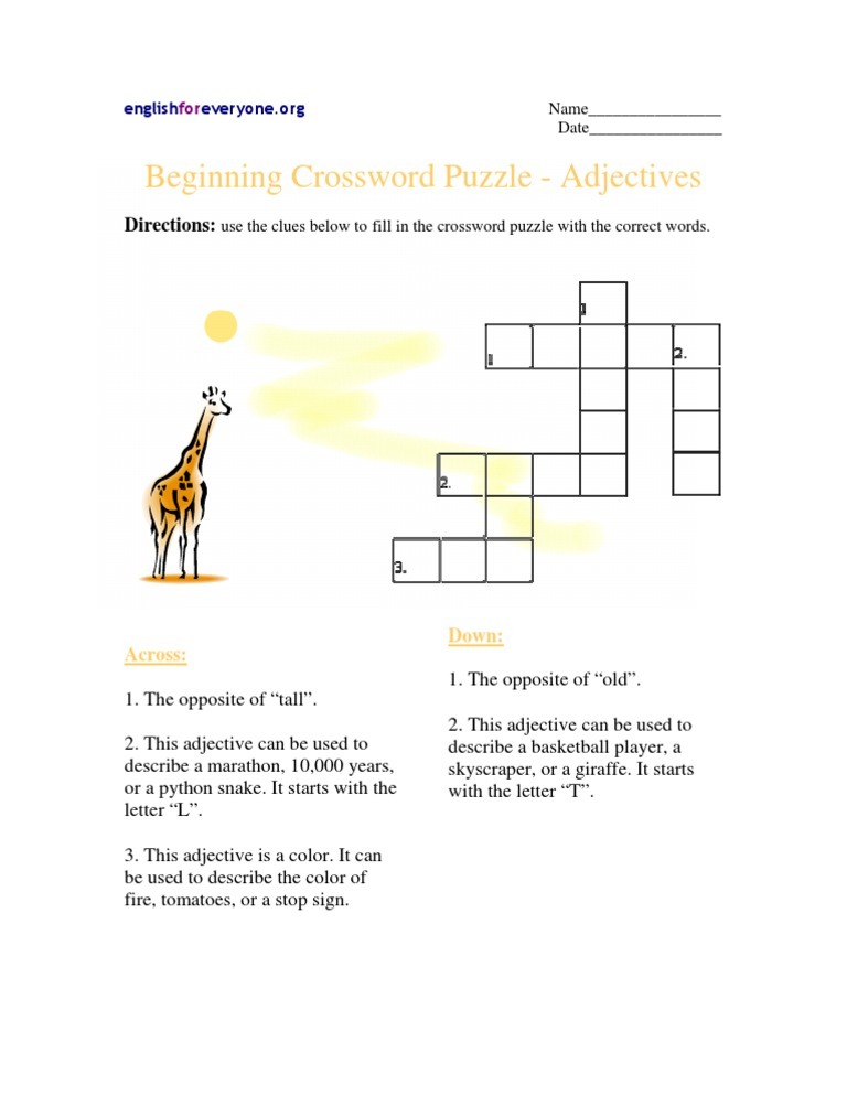 Beginning Crossword Puzzle, Adjectives