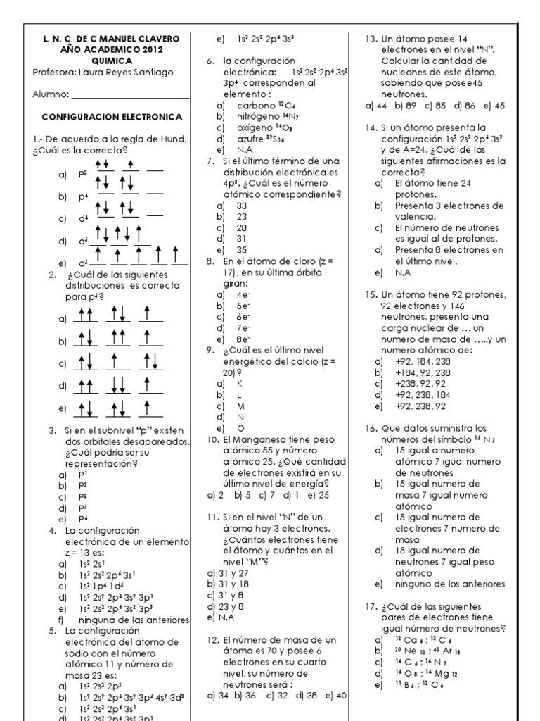 ejercicios configuracin electrnica - Tabla Periodica De Los Elementos Con Configuracion Electronica Pdf