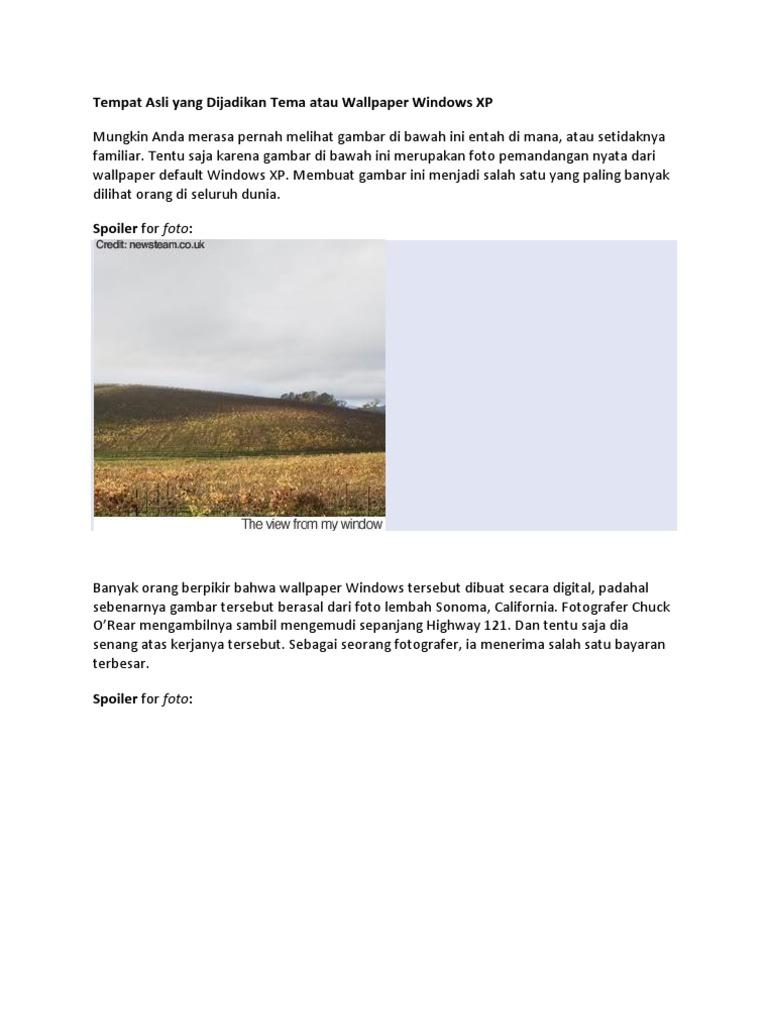 Tempat Asli Yang Dijadikan Tema Atau Wallpaper Windows XP