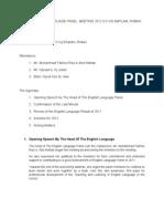 English Language Panel Anual Meeting 2012 ( Minit Mesyuarat 1rst )