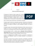 Moção sobre a Reforma da Administração Local aprovada na Assembleia de Freguesia de Queluz