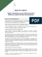 Appel A candidature Béjaia DOC 2012