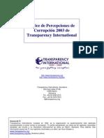 Indice Percepción de la Corrupción 2003