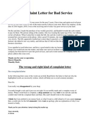Sample Complaint Letter For Bad Service Retail Goods