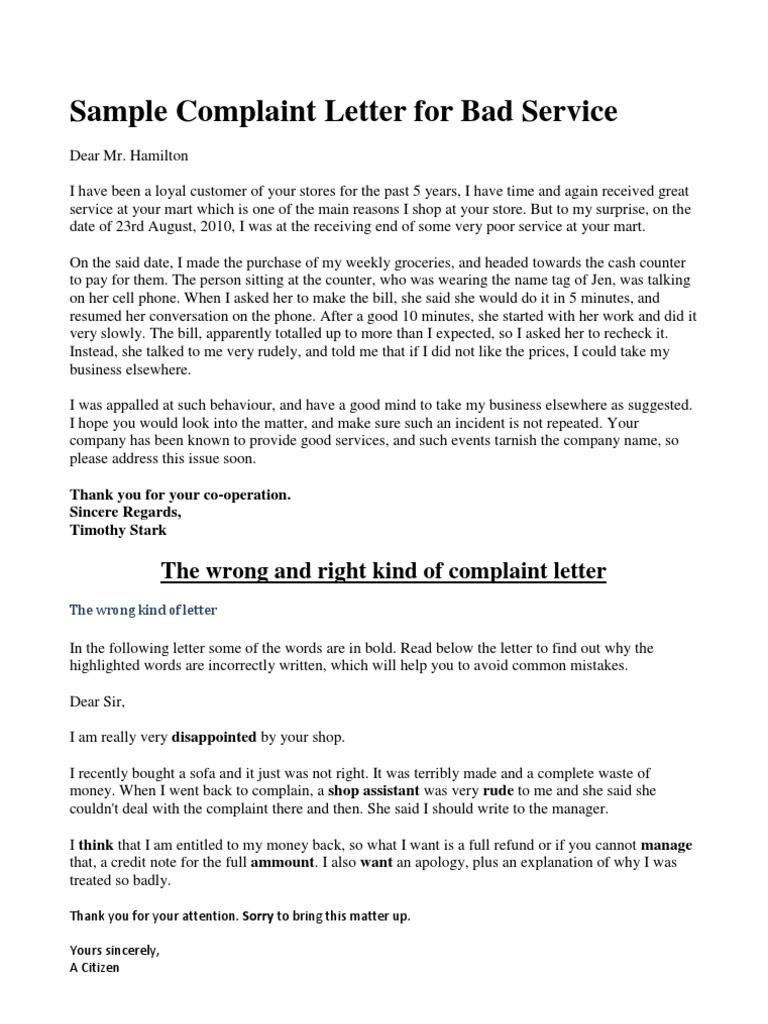 Sample complaint letter for bad service spiritdancerdesigns Choice Image
