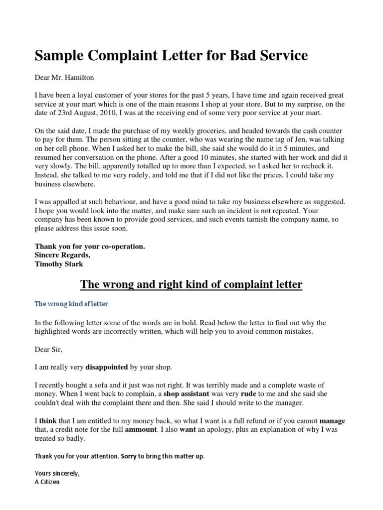 Sample complaint letter for bad service 1537261698v1 spiritdancerdesigns
