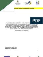 Plan de Manejo Ambiental para Fortalecimiento del encadenamiento productivo de las artesanías de la región Montes de María  y la depresión Momposina del departamento de Bolivar