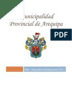 POI - PLAN OPERATIVO INSTITUCIONAL 2011 (incluye presupuesto) - Municipalidad Provincial de Arequipa