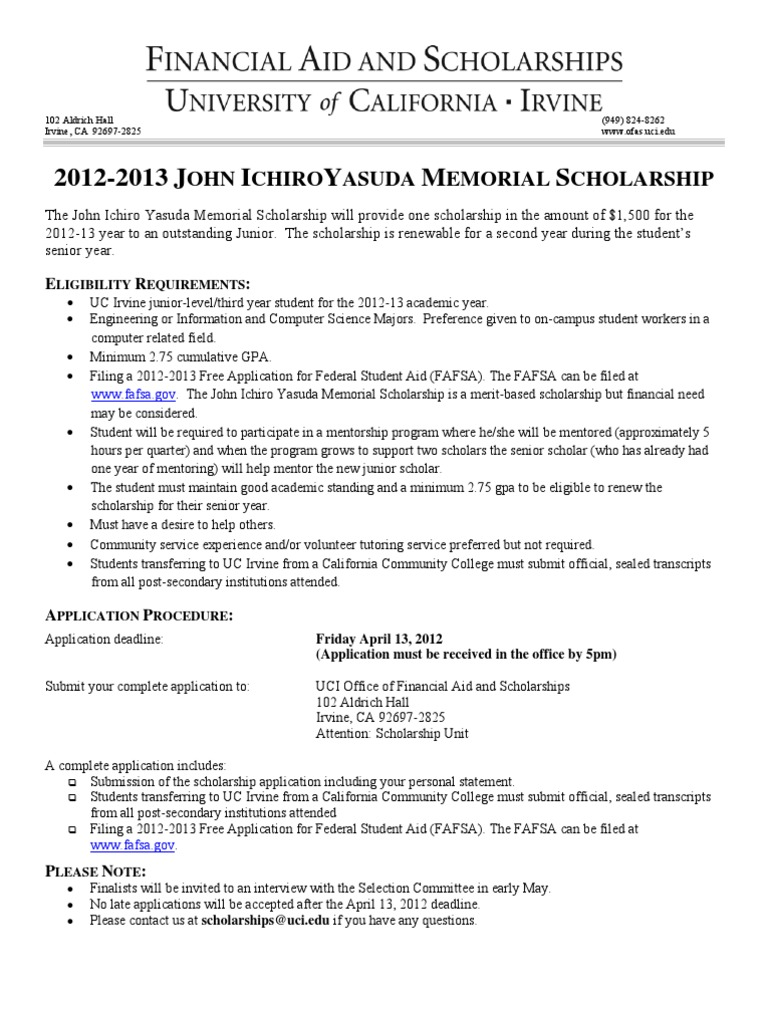 Final 2012-13 JIY Scholarship Application | Student Financial Aid In