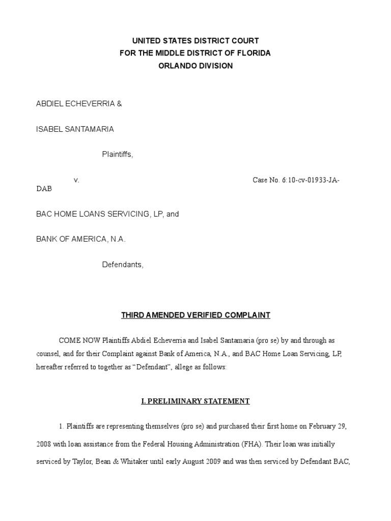 Third Amended Complaint Echeverria Et Al Vs Bank Of America Et