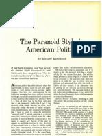 Hofstadter - Paranoid Style American Politics