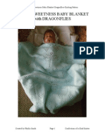 Love's Sweetness Baby Blanket Dragonflies Hand Knitting Pattern PDF (1)