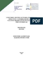 Industrie Alimentara Programa Titularizare 2010 M