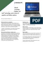 HP Elitebook 8560p Datasheet