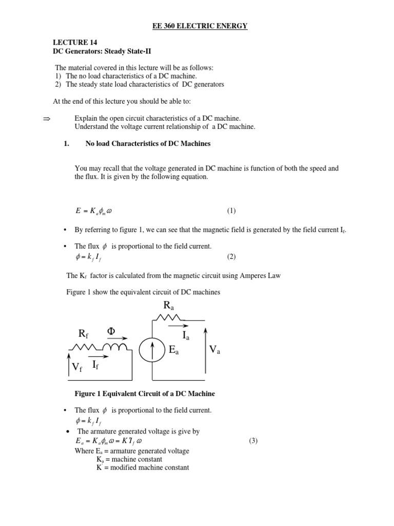 Files 3 Lesson Notes Lec 14 Dc Generator Ii Electric Open Circuit Characteristics Current