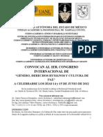 Convocatoria_1er_ Congreso_Internacional_de_Género_y_Derechos_Humanos_México_2012