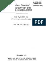 Is 2750 Specifiction for Steel Scaffoldings R0.183134252