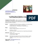 Communiqué Veillée Pattes et Patrimoine 14 avril 2012