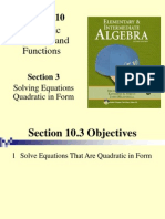 Seia2e_1003 10.3 Solving Equations Quadratic in Form