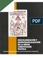 Descolonización y Despatriarcalización en la Constitución Política del Estado Plurinacional de Bolivia
