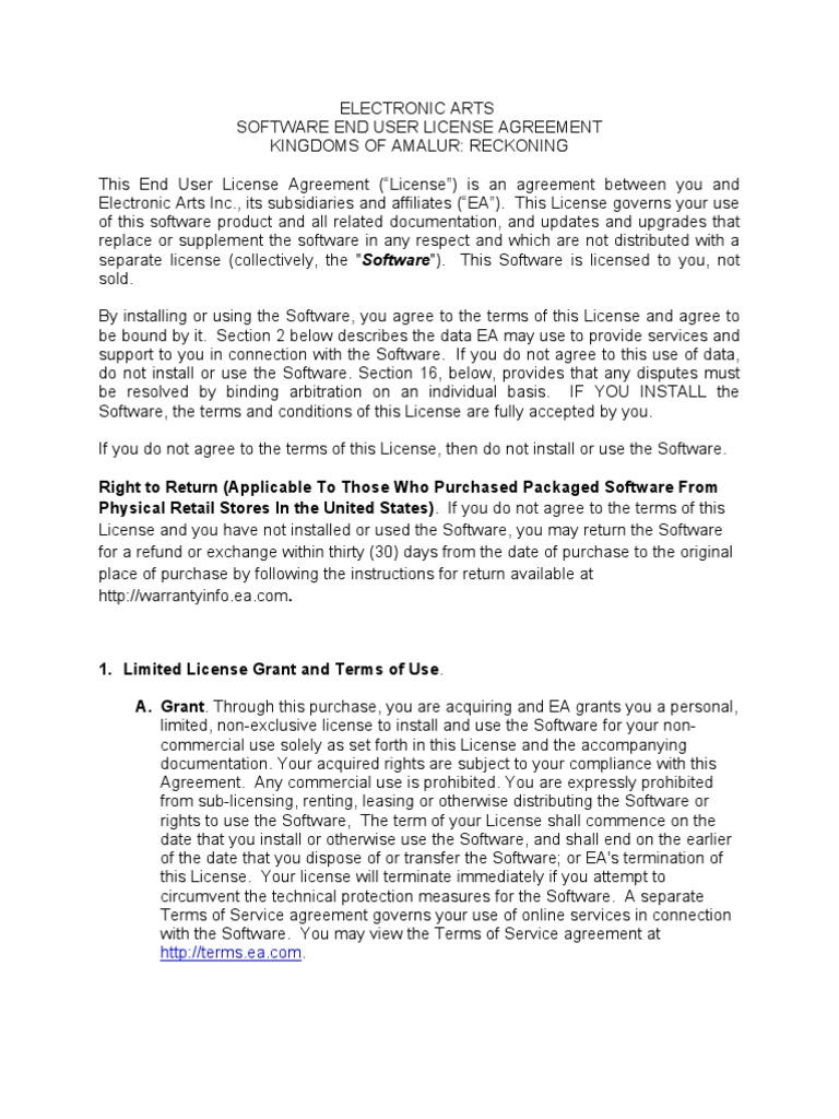 Eula Arbitration License