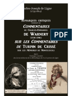 Prince de Ligne. Remarques sur les Commentaires de Warnery sur Turpin de Crissé
