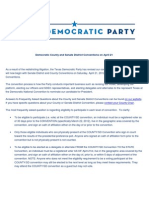 Democratic County and Senate District Conventions on April 21