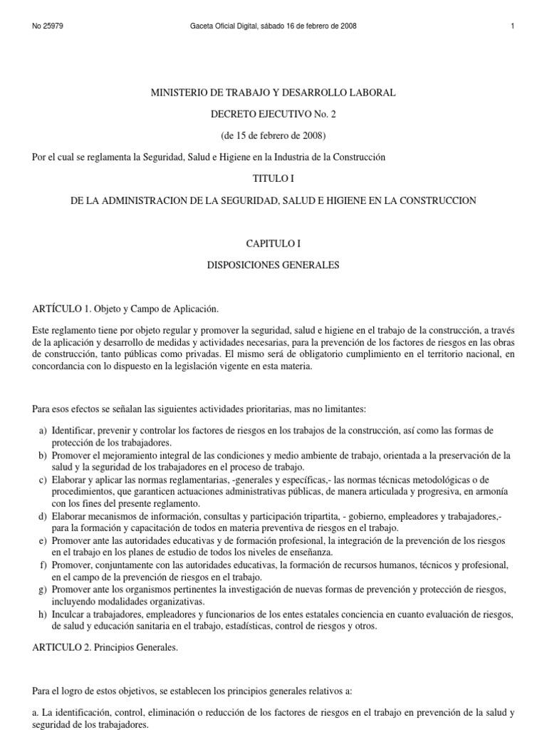 Decreto Ejecutivo No. 2 16 Feb 08 Reglamento de SSO Para Construccion