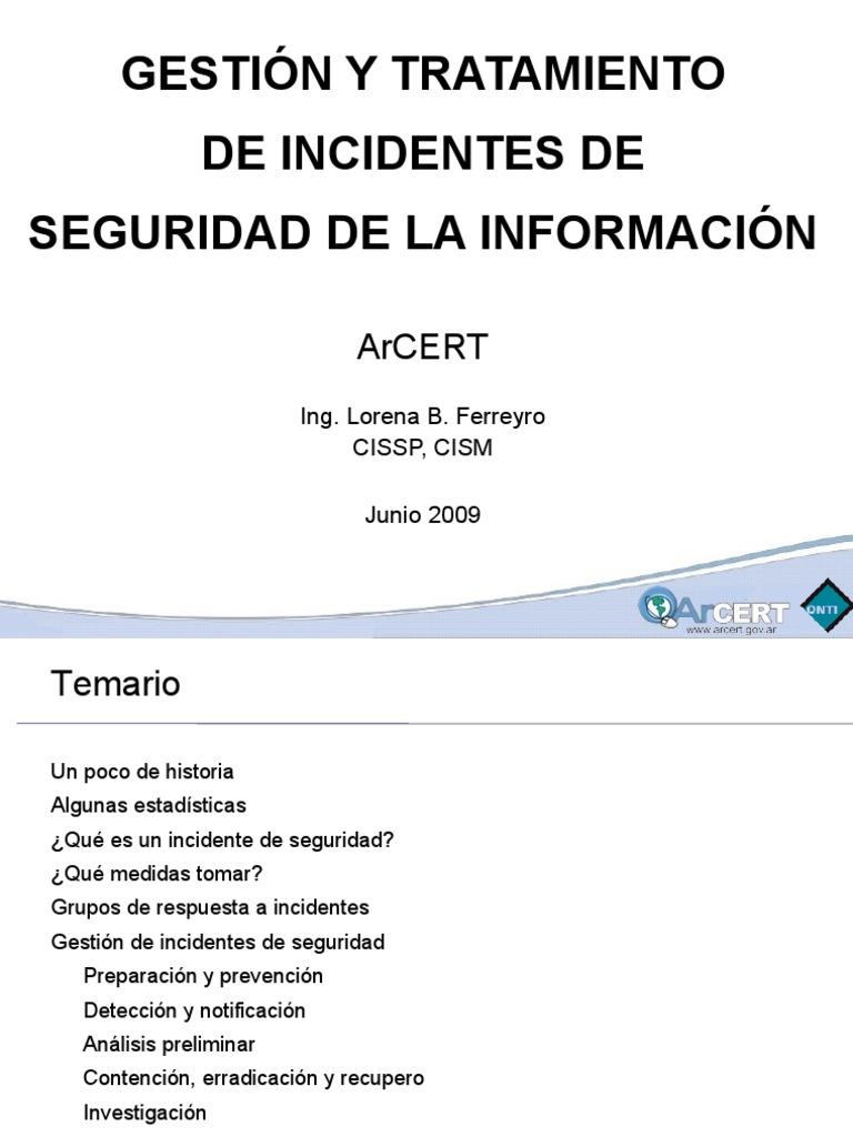 Gestion de Incidentes Parte1 2009