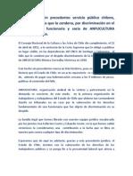 En un hecho sin precedentes servicio público chileno,  publica sentencia que lo condena, por discriminación en el despido de la funcionaria y socia de ANFUCULTURA Mónica Torrealba.
