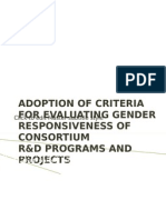 Adoption of Criteria for Evaluating r&d Gender Responsiveness 2012