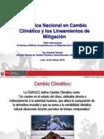 La Política Nacional en Cambio Climático y los Lineamientos de Mitigación. Eduardo Durand