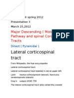 Presentation 3 ( Information ) Major Descending ( Motor ) Pathway and Spinal Cord Tracts March 25, 2012