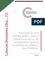Participación en la consulta pública sobre el Anteproyecto de Ley de transparencia, acceso a la información pública y buen Gobierno.