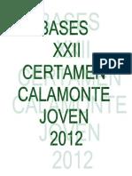 Bases Certamen Calamonte Joven 2012