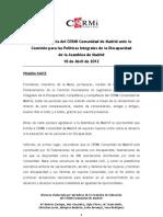 Comparecencia Asamblea Madrid - CERMI Madrid 10-Abril-12