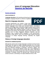 The Importance of Language Education by Dominic de Neuville