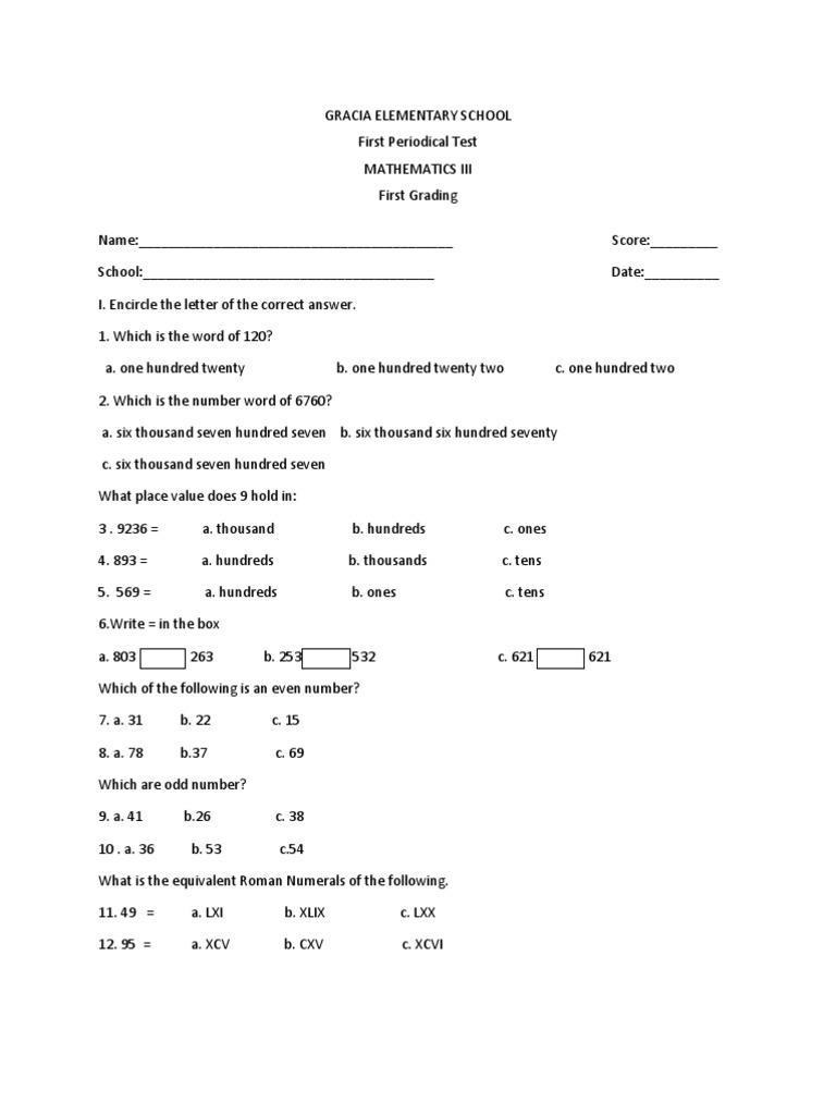 Math 3 - Kidz Activities